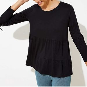 Loft Tiered long sleeve Tee, Black